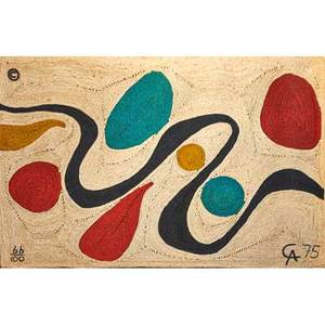 After alexander calder 18981976 bon art jute fiber wall hanging turquoise nicaragua 1975 embroidered copyright mark 66100 ca 75 cloth tag 56 x 84
