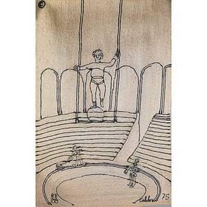 After alexander calder 1898  1976 jute fiber wall hanging circus nicaragua 1975 embroidered calder 75 88100 with copyright mark 84 x 56 jute fiber wall hanging swirl nicaragua 1974