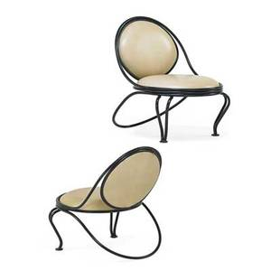 Mathieu mategot 1910  2001 ateliers mategot pair of copacabana lounge chairs france 1950s enameled iron leather unmarked 30 x 25 x 30