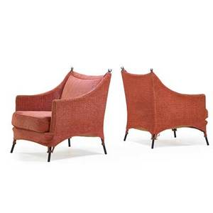 Elisabeth garouste b 1949 mattia bonetti b 1952 bgh editions pair of lounge chairs france 1980s enameled steel bronze upholstery unmarked 35 x 28 x 33
