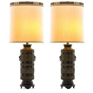 Marbro lamp co pair of table lamps los angeles ca 1960s bronze wood two sockets silk and velvet shades overall 37 12 x 15 14 base only on pedestal 19