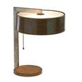 Kurt versen 1901  1997 table lamp usa 1930s copper nickelplated brass frosted glass single socket unmarked not examined under felt 14 x 11