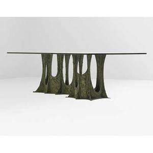 Paul evans 1931  1987 directional sculptured metal dining table pe102 new hope pa 1974 signed and dated pe 74 29 x 96 x 48