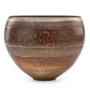 Edwin scheier 1910  2008 mary scheier 1908  2007 fine early glazed ceramic bowl with sgraffito decoration new hampshire 1960s signed scheier 8 12 x 10