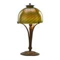 Tiffany studios boudoir lamp with damascene shade new york 1900s patinated bronze glass single socket base stamped tiffany studios new york 426 shade etched lct 15 x 7 shade 5 x 7