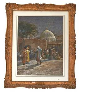 Louis c tiffany 1848  1933 orientalist watercolor on paper of figures at a mosque ca 1880 matted and framed signed louis c tiffany sight 24 12 x 19 provenance astor galleries new yor