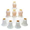 Quezal steuben two sets of calcite glass shades with white opalescent exteriors and gold interiors new york ca 1920 four by quezal four by steuben quezal shades signed steuben unmarked 6 x