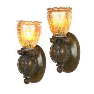Quezal pair of pomegranateshaped wall sconces with art glass shades usa ca 1915 patinated bronze lustre glass shades etched quezal metal unmarked overall 10 34 x 4 14 shades 4 12 x