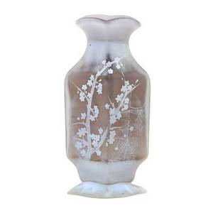 Daum early cameo glass vase with prunus and spiderweb france 1890s signed daum nancy with cross of lorraine 9 12 x 4 12
