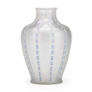 Lalique bandes de roses vase frosted glass with blue patina france ca 194547 des 1919 m p 419 no 910 molded lalique 9 12 x 6