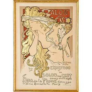 Alphonse mucha 1860  1939 color lithograph salon des cent france 1896 framed and matted signed in image imprimerie chaix printers chop also signed le maitre de laffiche sight 11 12