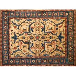 Uzbek kazak contemporary handknotted wool rug shades of blue gold and red pakistan 8 10 x 11