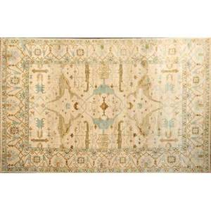 Oushak style contemporary handknotted wool rug shades of oatmeal teal and brown india 10 x 14 2