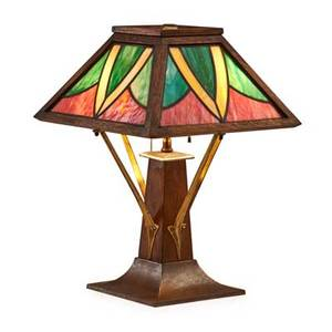 Arts  crafts table lamp usa ca 1910 oak brass leaded glass two sockets unmarked 19 12 x 14 sq