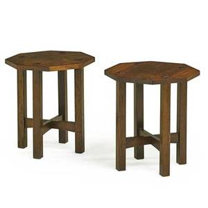 L  jg stickley pair of octagonal tabourets fayetteville ny ca 1912 the work of decals 20 x 18 sq