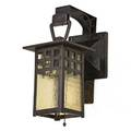 Gustav stickley hanging lantern no 830 eastwood ny ca 1904 forged and hammered iron hammered amber glass single socket unmarked total 13 x 6 x 9 14 lantern 11 x 6 sq