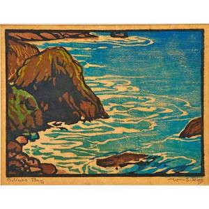 William rice 1873  1963 color woodblock print on handmade paper bolinas bay california matted pencil signed and titled image 6 x 8