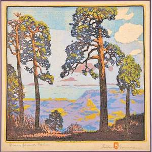 Gustave baumann 1881  1971 color woodblock print pines  grand canyon santa fe nm 1921 chop mark signed titled numbered 6100 image 12 12 x 12 12 literature acton krause and yu