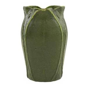 Grueby vase with lobed rim and fullheight leaves and buds curdled green glaze boston ma ca 1905 obscured stamp 7 12 x 4 12