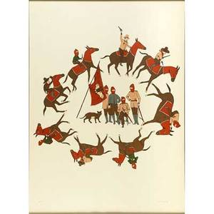 Marcel dzama canadian b 1974 ceremonies of the horseman 2006 lithograph in colors framed signed dated and numbered pp 34 28 78 x 20 34 sight provenance private collection new y
