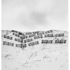 Michael kenna british b 1953 twenty fences obira hokkaido japan 2004 gelatin silver print printed 2005 dry mounted to board signed dated titled and numbered 1645 8 x 7 12 image an