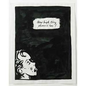 Raymond pettibon american b 1957 untitled how high they placed her 1987 ink on paper framed signed and dated 11 x 8 58 sheet provenance private collection