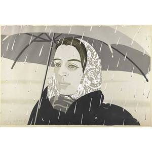 Alex katz american b 1927 gray umbrella 1979 lithograph in colors framed signed and numbered ap 225 20 12 x 30 14 sheet publisher ghj graphics inc new york literature nichola