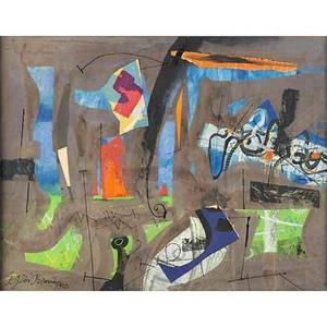 Byron george byron browne american 19071961 untitled 1959 mixed media and collage on paper framed signed and dated 20 x 26 sheet provenance private collection new jersey