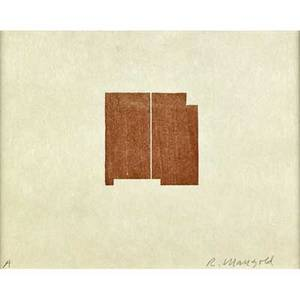 Robert mangold american b 1937 seven original woodcutsprints 19681998 the catalogue raisonne by amy baker sandback 2000 seven woodcuts in colors framed separately each signed and titled