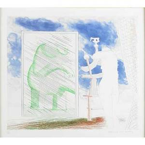 David hockney british b 1937 a picture of ourselves from the blue guitar 19761977 etching and aquatint in colors framed signed and numbered 5200 13 12 x 16 12 plate 15 14 x 18 1