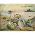 David davidovich burliuk ukrainianamerican sea shells oil on canvas frame signed 15 18 x 19 18 provenance shulman family collection