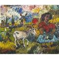 David davidovich burliuk ukrainianamerican white goat oil on canvas signed 10 x 12 provenance shulman family collection