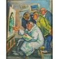 Benjamin d kopman russianamerican 18871965 art class oil on canvas framed signed 20 x 16 provenance shulman family collection