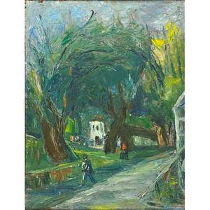 Benjamin d kopman russianamerican 18871965 white house past old trees oil on board framed signed 32 x 25 provenance shulman family collection