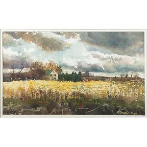 Ranulph bye american 19162003 autumn sky 1980 watercolor on paper framed signed 8 38 x 14 38 sight exhibition thumb box painting salmagundi club new york 1980 provenance privat