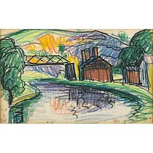 Oscar f bluemner 18671938 two works of art w patterson 1914 pastel on paper framed initialed dated and titled 4 34 x 7 12 sheet montville 1918 pastel on paper framed initiale