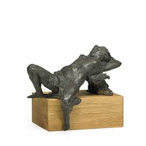Jacob epstein israeli 19212003 woman reclining bronze on wood base signed 12 x 6 12 x 9 12 x 10 12 x 9 with base provenance private collection israel note accompanied by coa a