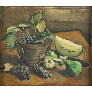 Henry varnum poor american 18871970 still life with grapes in a basket melon pear and apple oil on board framed signed 18 x 20 14 provenance shulman family collection