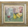 Paulette van roekens meltzer american 1896198 2 12 pears 1954 oil on canvas framed signed 12 x 14 provenance newman  saunders gallery pennsylvania label on verso private collecti