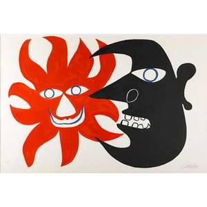 Alexander calder american 18981976 sun and moon 1970 lithograph in colors framed signed and numbered 6390 23 18 x 34 sight provenance kerwin galleries california label on verso
