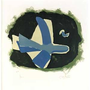 Georges braque french 18821963 oiseaudes forets oiseau xvii 1958 lithograph in colors framed signed and numbered xixxxv 20 x 20 sight provenance private collection pennsylvania