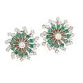 Diamond emerald  white gold cluster earrings