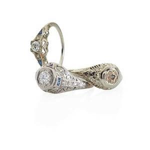 Art deco diamond  platinum or white gold engagement rings