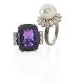 Two amethyst or pearl  diamond white gold rings