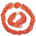 Coral bead torsade necklace  bracelet