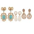 Three pairs yellow gold  gemset drop earrings
