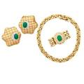 Collection of yellow gold jade or diamond set jewelry