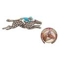 Two gem set silver or gold equestrian brooches