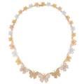 Tritone gold  diamond butterfly necklace