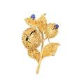 Tiffany  co gold sapphire  diamond chestnut brooch